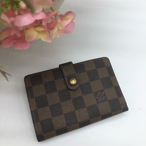 💯 authentic damier ebene French purse wallet